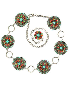 Nocona Colorful Concho Chain Belt, Multi, hi-res