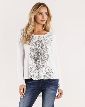 Miss Me Women's Let's Lace Up Filigree Print Top, Off White, hi-res
