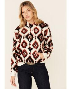 Shyanne Women's Black & Rust Aztec Print Pullover Sherpa Hoodie , Black, hi-res
