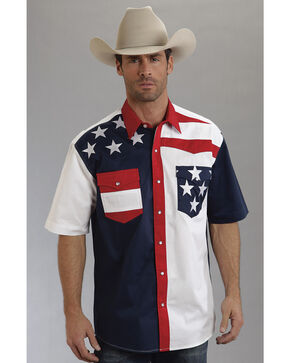 Roper Americana Collection Short Sleeve Stars and Stripes Western Shirt, Patriotic, hi-res