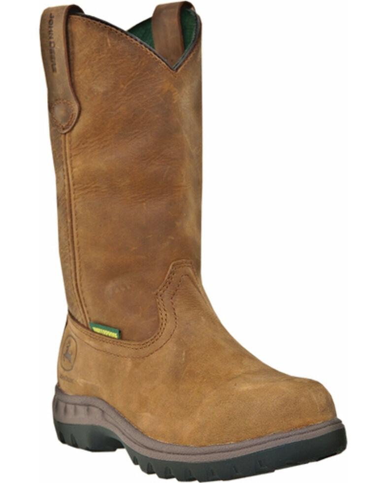 John Deere Women's Waterproof Wellington Work Boots - Round Toe, Tan, hi-res