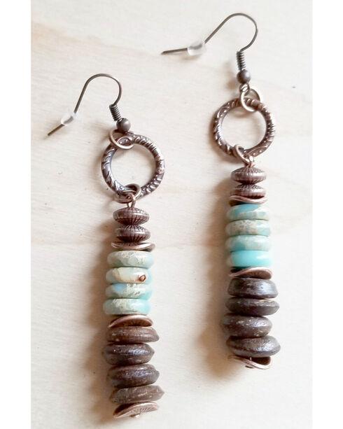 Jewelry Junkie Women's Aqua Terra and Wood Earrings, Brown, hi-res