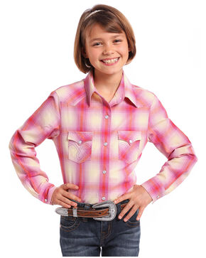 Panhandle Girls' Ombre Plaid Classic Stitched Long Sleeve Western Shirt , Pink, hi-res