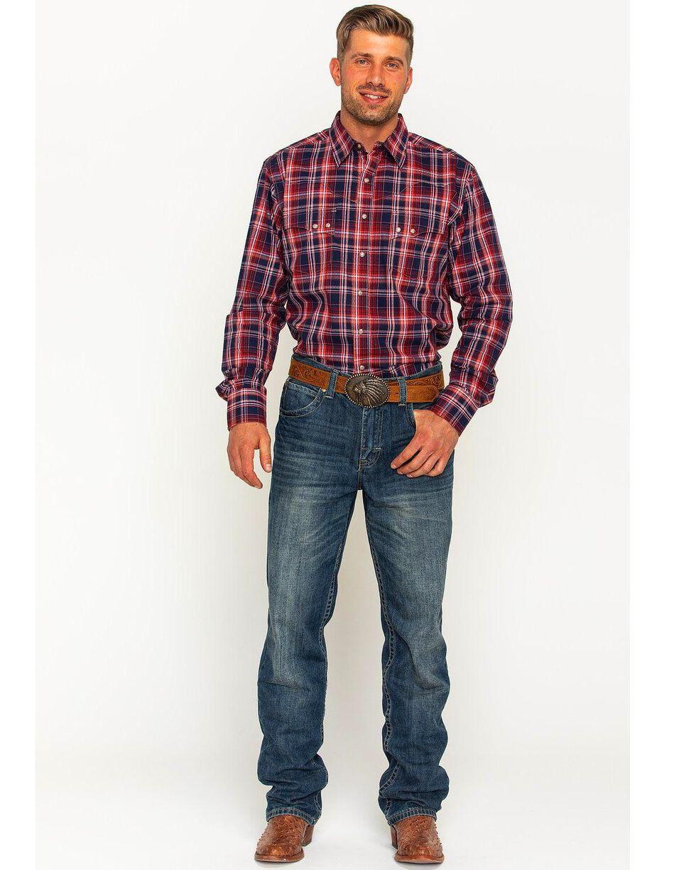 Wrangler Men's Salmon Retro Plaid Long Sleeve Shirt , Navy, hi-res