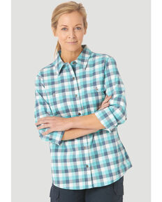 Wrangler Riggs Women's Teal Plaid Vented Long Sleeve Button-Down Work Shirt  , Teal, hi-res