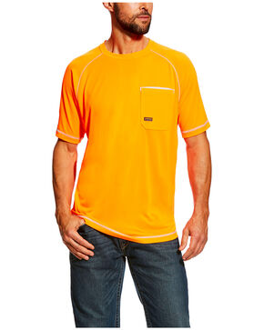 Ariat Men's Orange Rebar Sunstopper Short Sleeve Work Shirt , Orange, hi-res