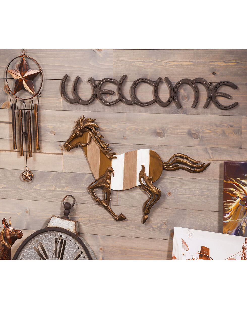 Evergreen Welcome Metal Horseshoe Sign , Brown, hi-res