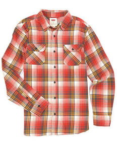 Levi's Men's Blue Seybert Large Plaid Long Sleeve Button Western Flannel Shirt , Red, hi-res