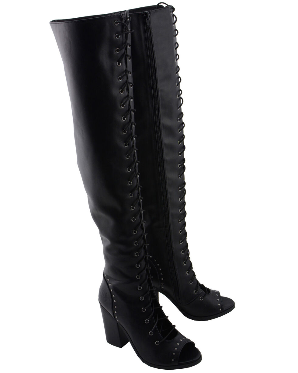 Milwaukee Leather Women's Open Toe Front Knee High Boots - Round Toe, Black, hi-res