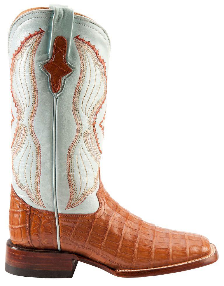 Ferrini Cognac Caiman Belly Cowgirl Boots - Wide Square Toe, Cognac, hi-res