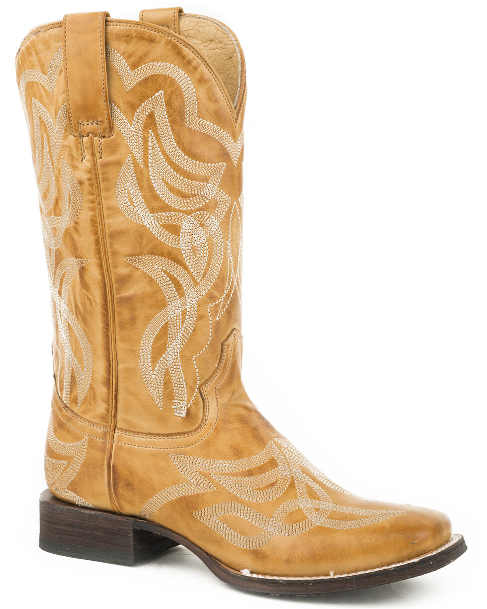 Stetson Women's Tan Reese Cowgirl Boots - Square Toe , Tan, hi-res