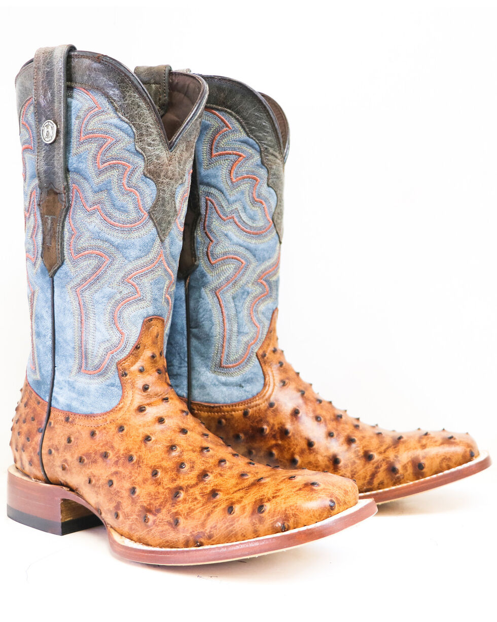 Mens Cognac Ostrich Print Square Toe Western Leather Cowboy Boots