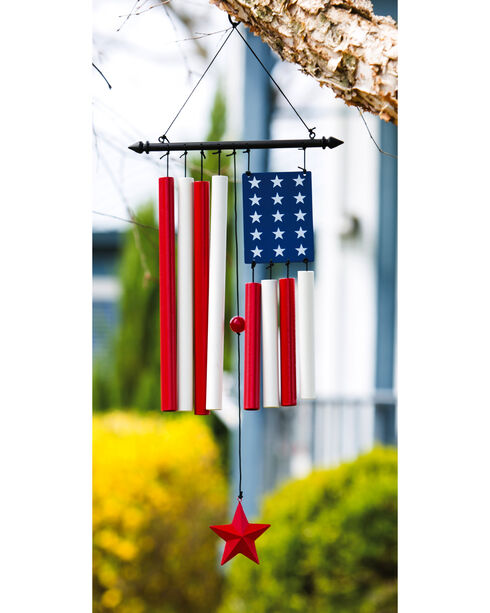 Evergreen American Flag with Red Star Windchime , Red/white/blue, hi-res