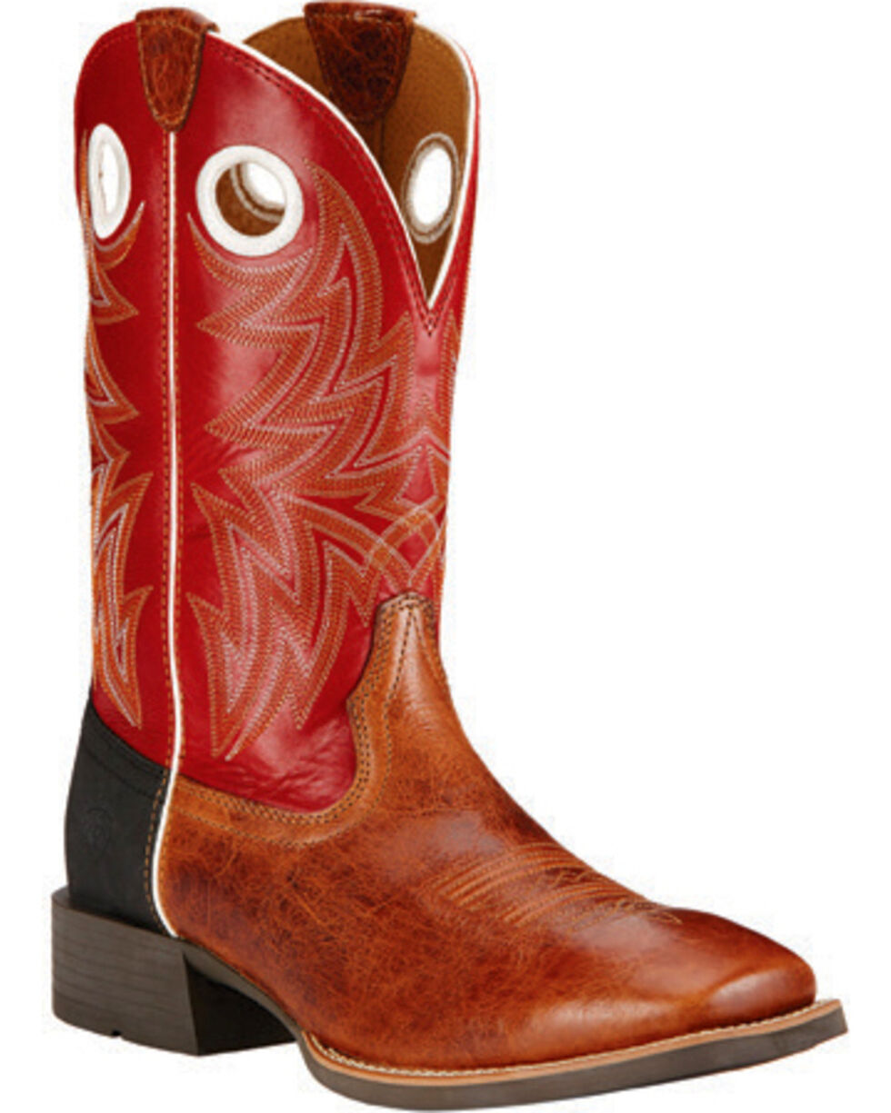 Ariat Men's Cardinal Red Heritage Cowhorse Western Boots - Square Toe , Tan, hi-res