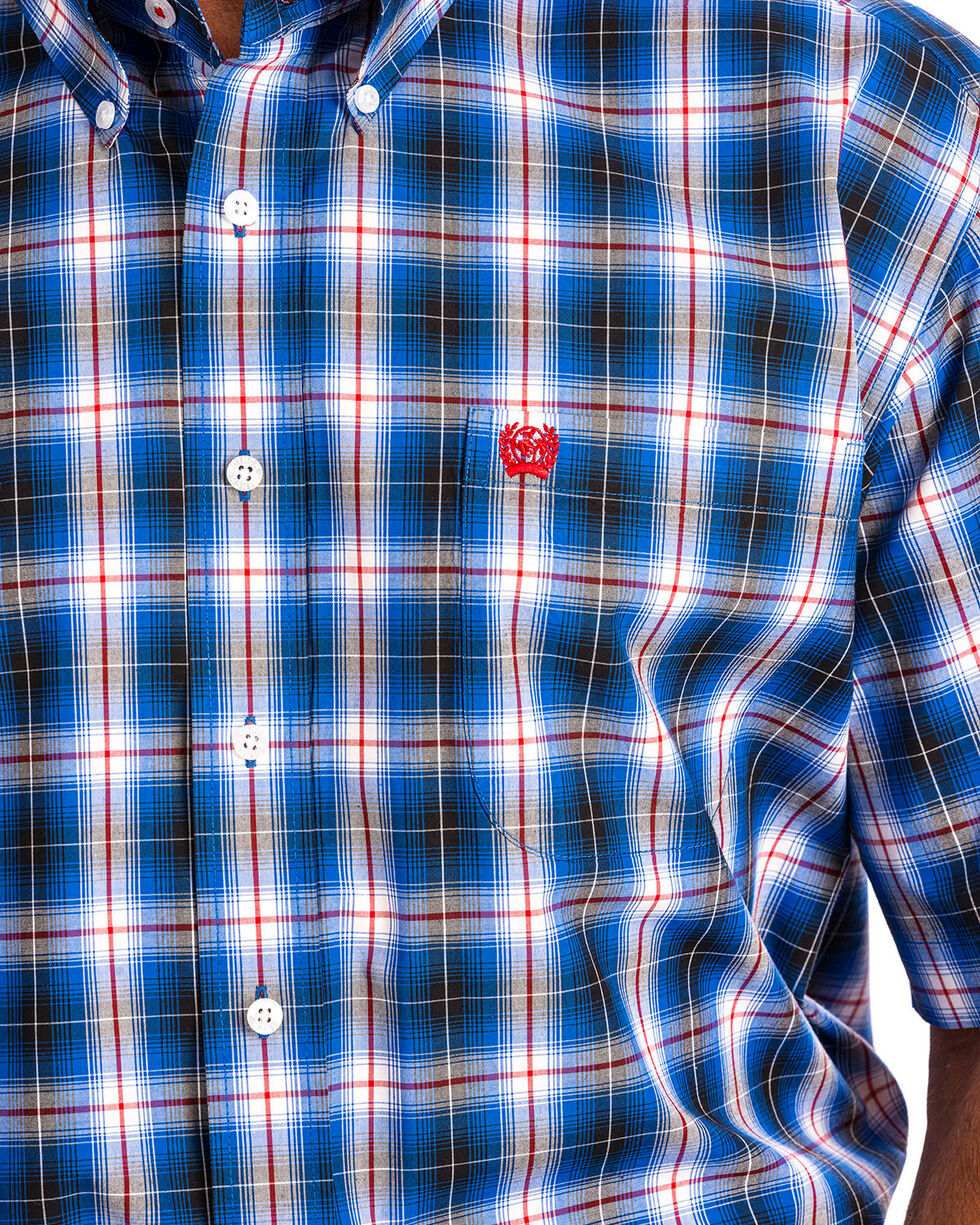 Cinch Men's Blue Plaid Short Sleeve Button Down Shirt, Blue, hi-res