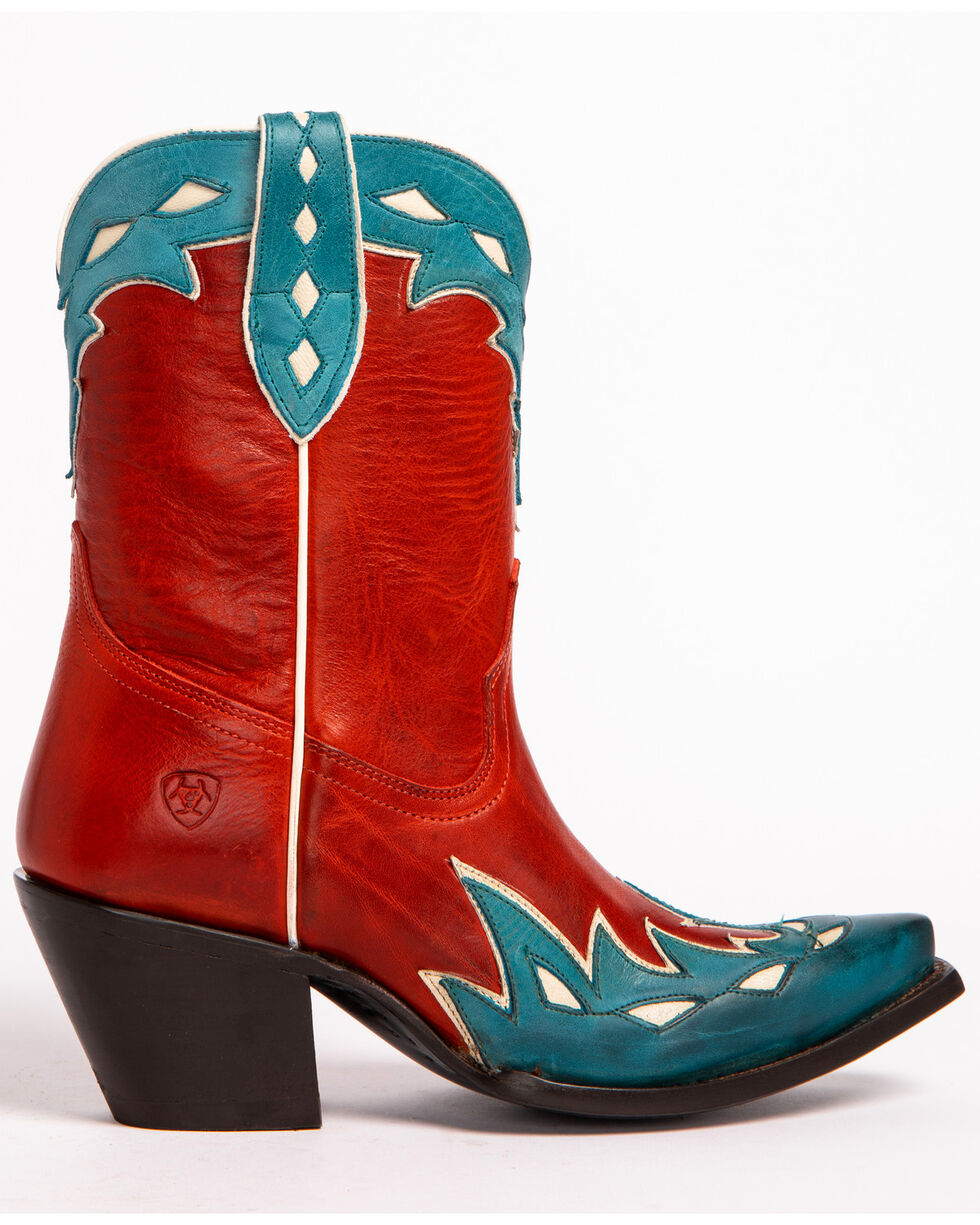 Ariat Women's Juanita Heart Throb Red Cowgirl Boots - Snip Toe, Red, hi-res
