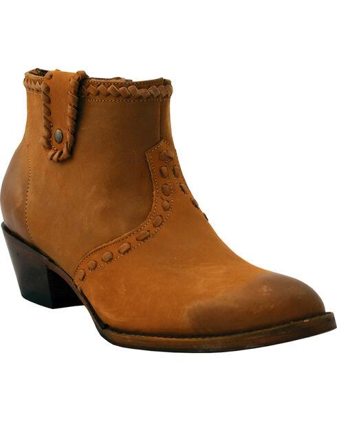Ferrini Women's Whip & Saddle Stitched Short Western Boots - Round Toe , Honey, hi-res