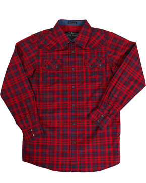 Cody James Boys' Tomahawk Plaid Long Sleeve Shirt, Red, hi-res