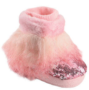 Blazin Roxx Infant Girls' Pink Fur Bootie Slippers, Pink, hi-res
