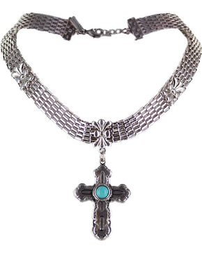Shyanne Women's Silver Cross Choker , Turquoise, hi-res