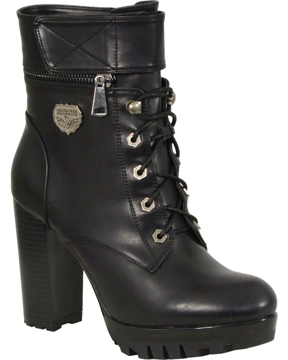 MIlwaukee Leather Women's Black Lace-to-Toe Double Height Option Boots - Round Toe , Black, hi-res