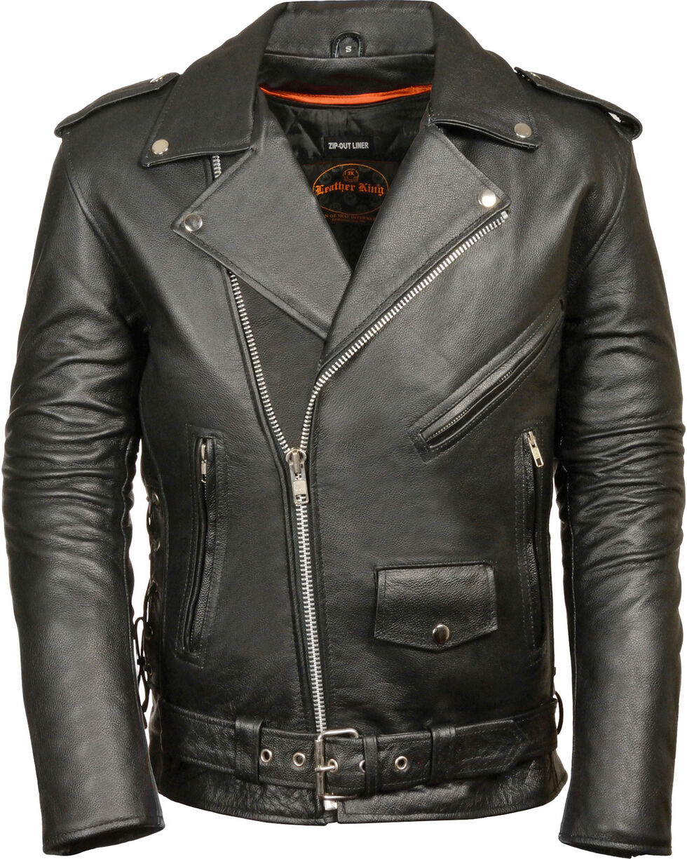 Milwaukee Leather Men's Classic Side Lace Police Style Motorcycle Jacket - Tall - 5XT, Black, hi-res