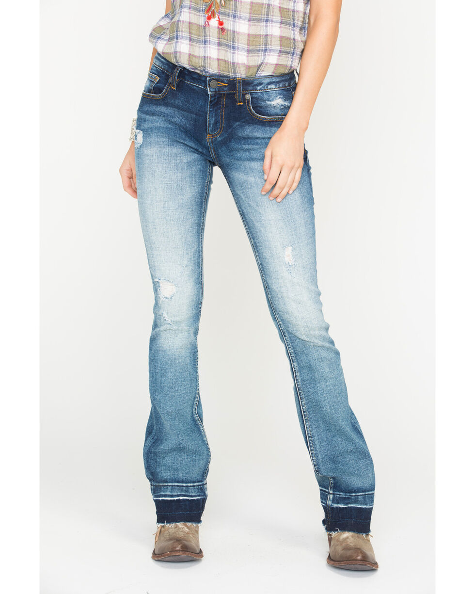 Miss Me Women's Step It Up Mid Rise Boot Cut Jeans  , Indigo, hi-res