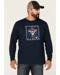 Moonshine Spirit Men's Heather Navy Framed Skull Graphic Long Sleeve T-Shirt , Navy, hi-res