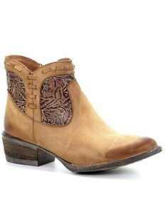 Circle G Women's Brown Engraved Shortie Booties- Round Toe , Brown, hi-res