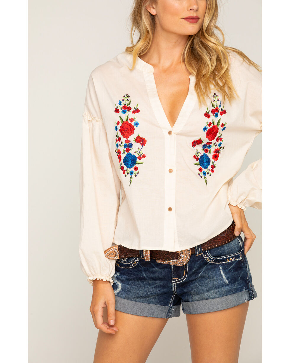Shyanne Women's Floral Embroidered Long Sleeve Top, Ivory, hi-res