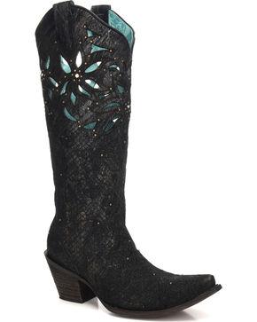 Corral Women's Paulette Floral Cutout Cowgirl Boots - Snip Toe, Black, hi-res
