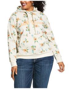 Ariat Women's R.E.A.L. Floral Cactus Hoodie - Plus, Oatmeal, hi-res