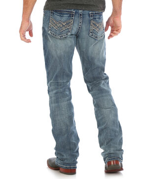 Wrangler Rock 47 men's Blue Slim Fit Stretch Jeans - Boot Cut , Medium Blue, hi-res