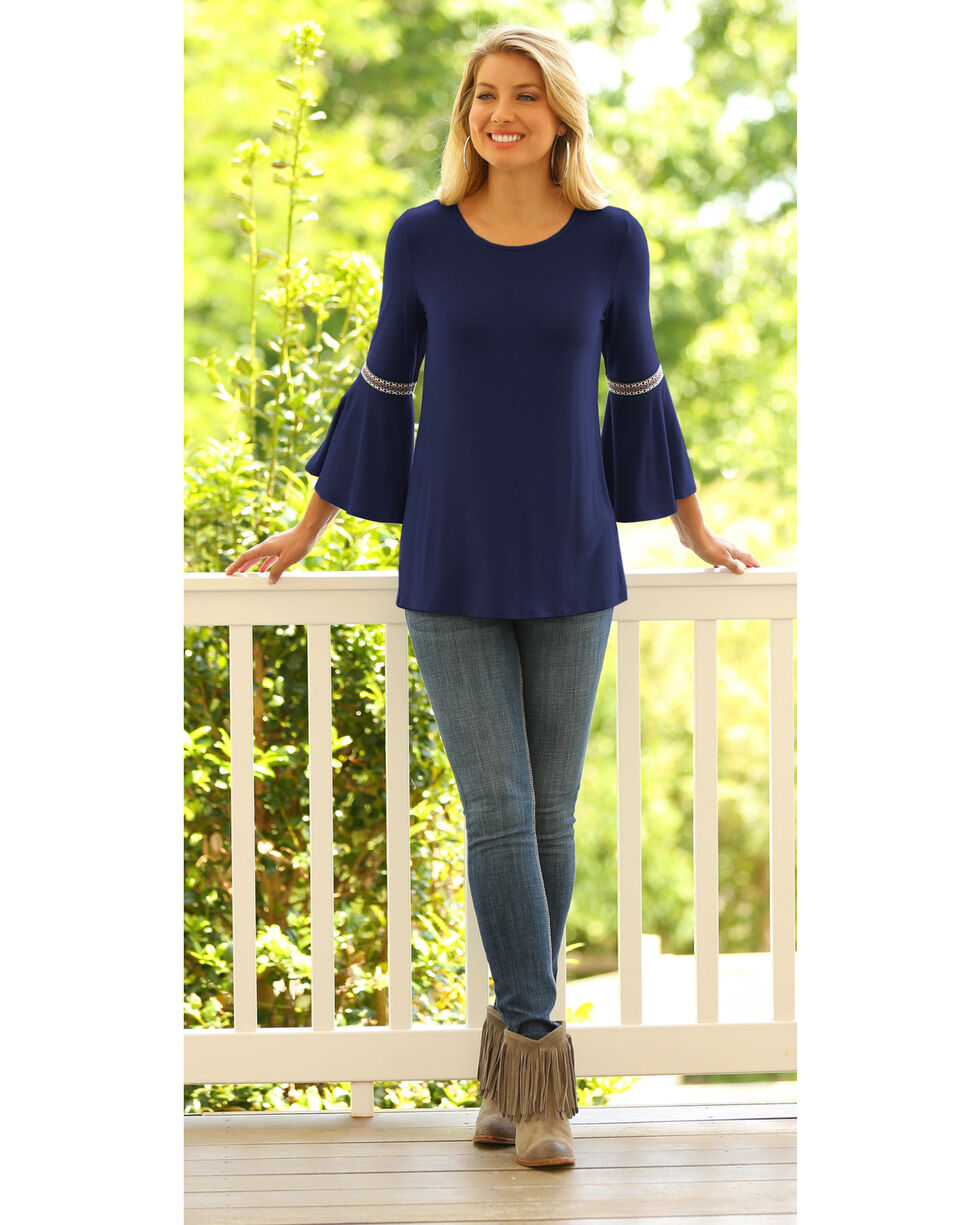 Wrangler Women's Flutter Sleeve Top, Navy, hi-res