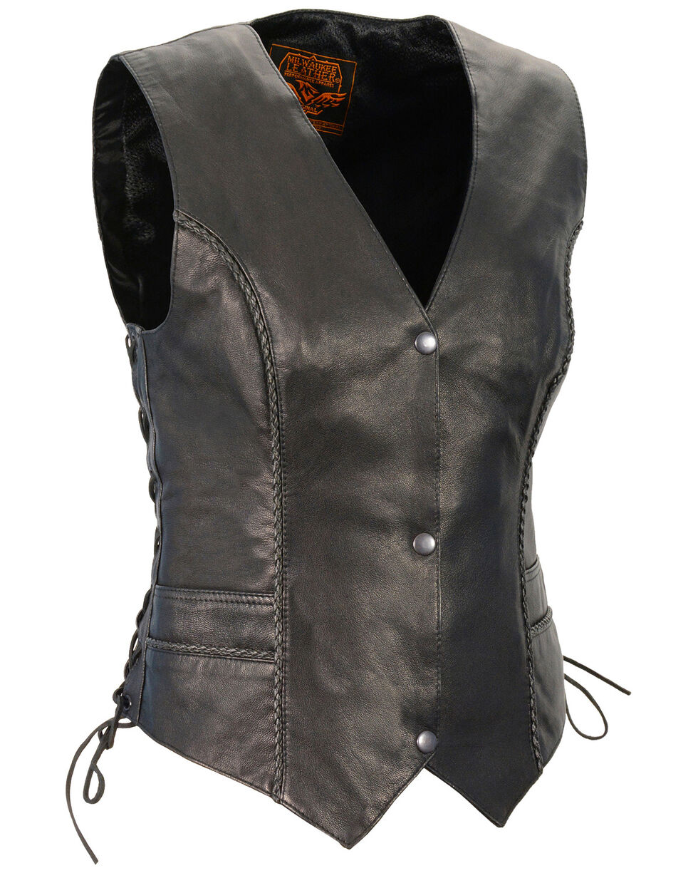 Milwaukee Leather Women's Braided Side Lace Lightweight Snap Front Vest - 4X, Black, hi-res