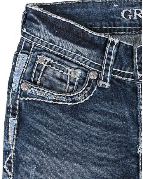 Grace in LA Girls' Blue Heavy Stitched Jeans - Boot Cut , Blue, hi-res