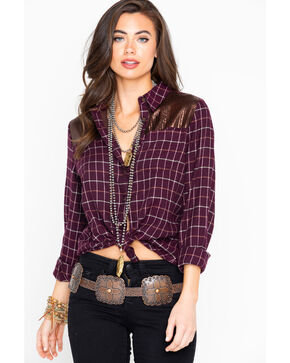 Shyanne Women's Plaid Sequined Yoke Flannel Shirt , Burgundy, hi-res