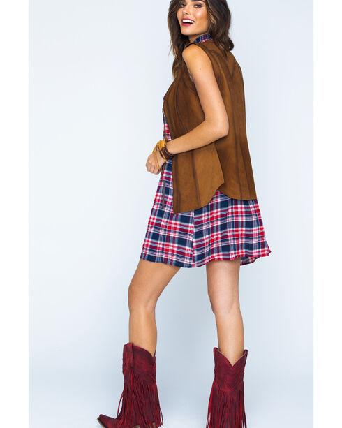 Ryan Michael Women's Brown Tie Front Leather Vest , Brown, hi-res