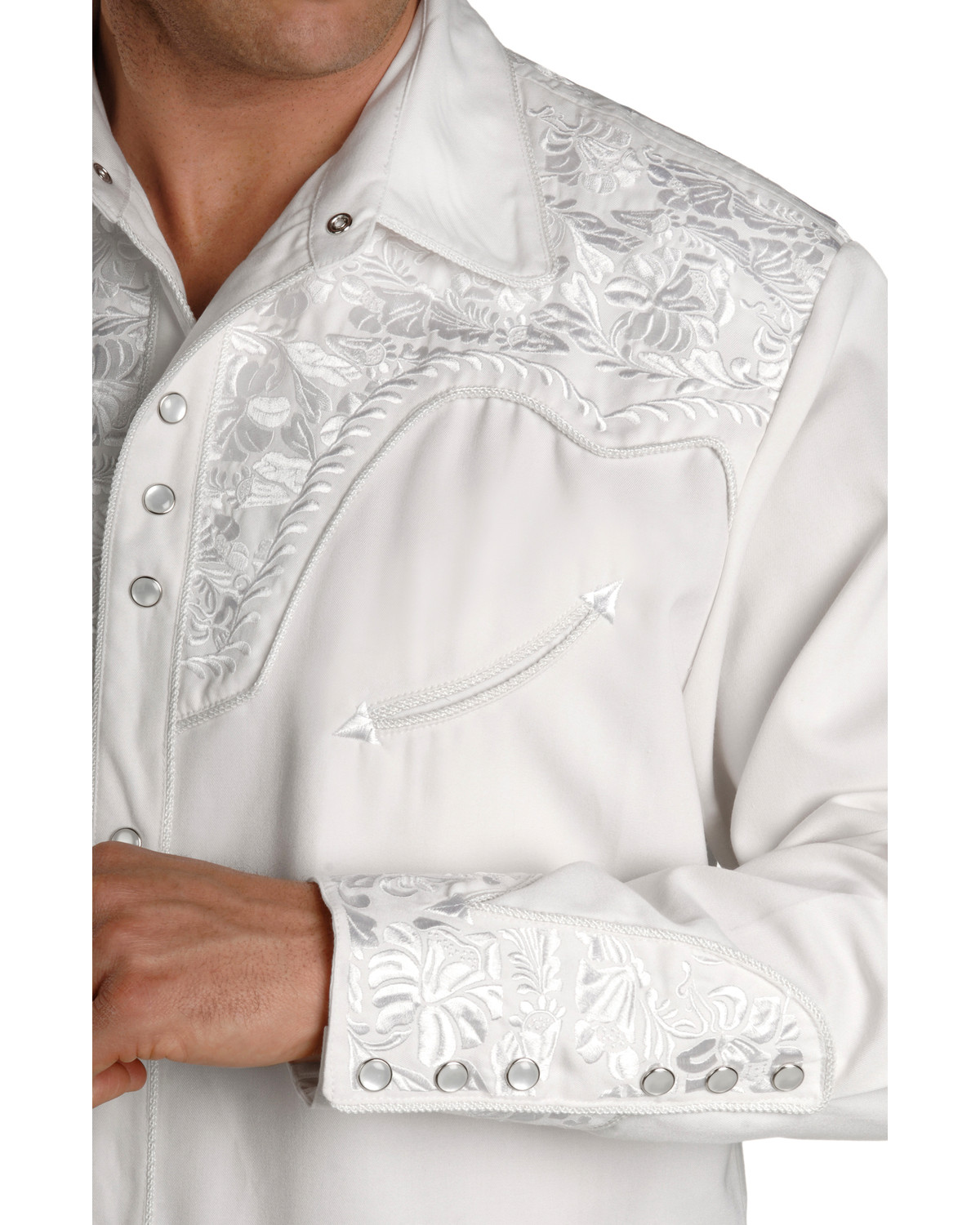Scully Mens White Embroidered Gunfighter Shirt Sheplers