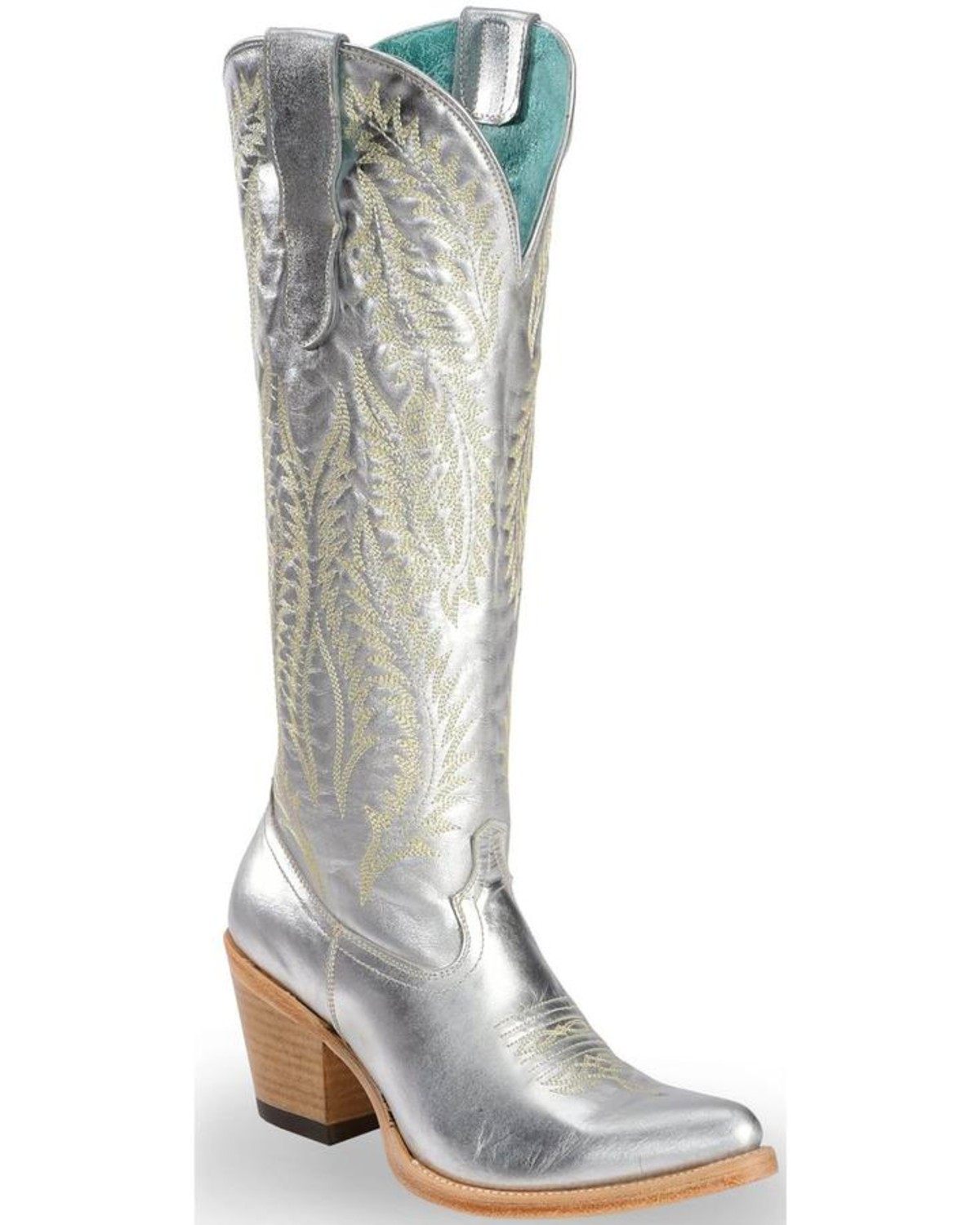 Corral Women's Silver Embroidery Tall Top Cowgirl Boots - Pointed Toe,  Silver, hi-