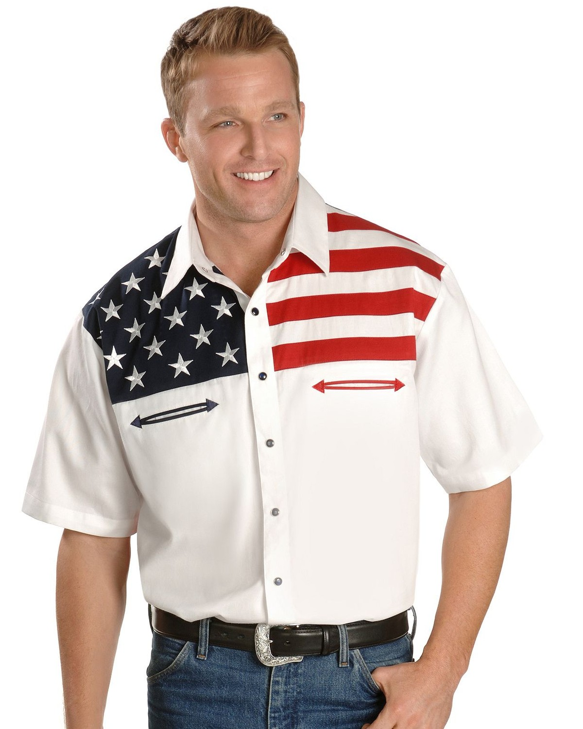 Scully Homme Patriotique Drapeau Américain Colorblock Western Shirt Big and Tall