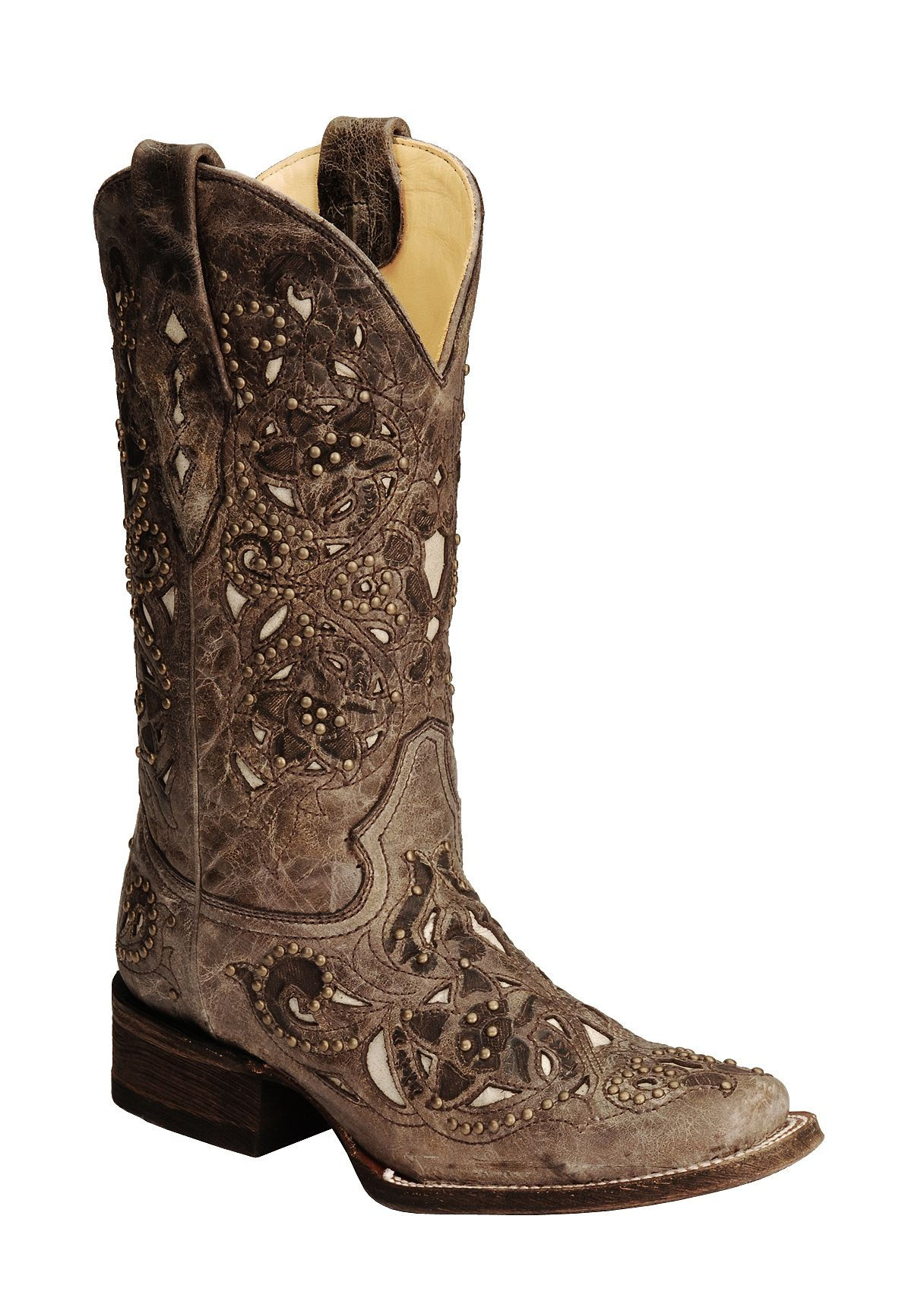 Corral Studded Bone Inlay Crater Cowgirl Boots Square Toe