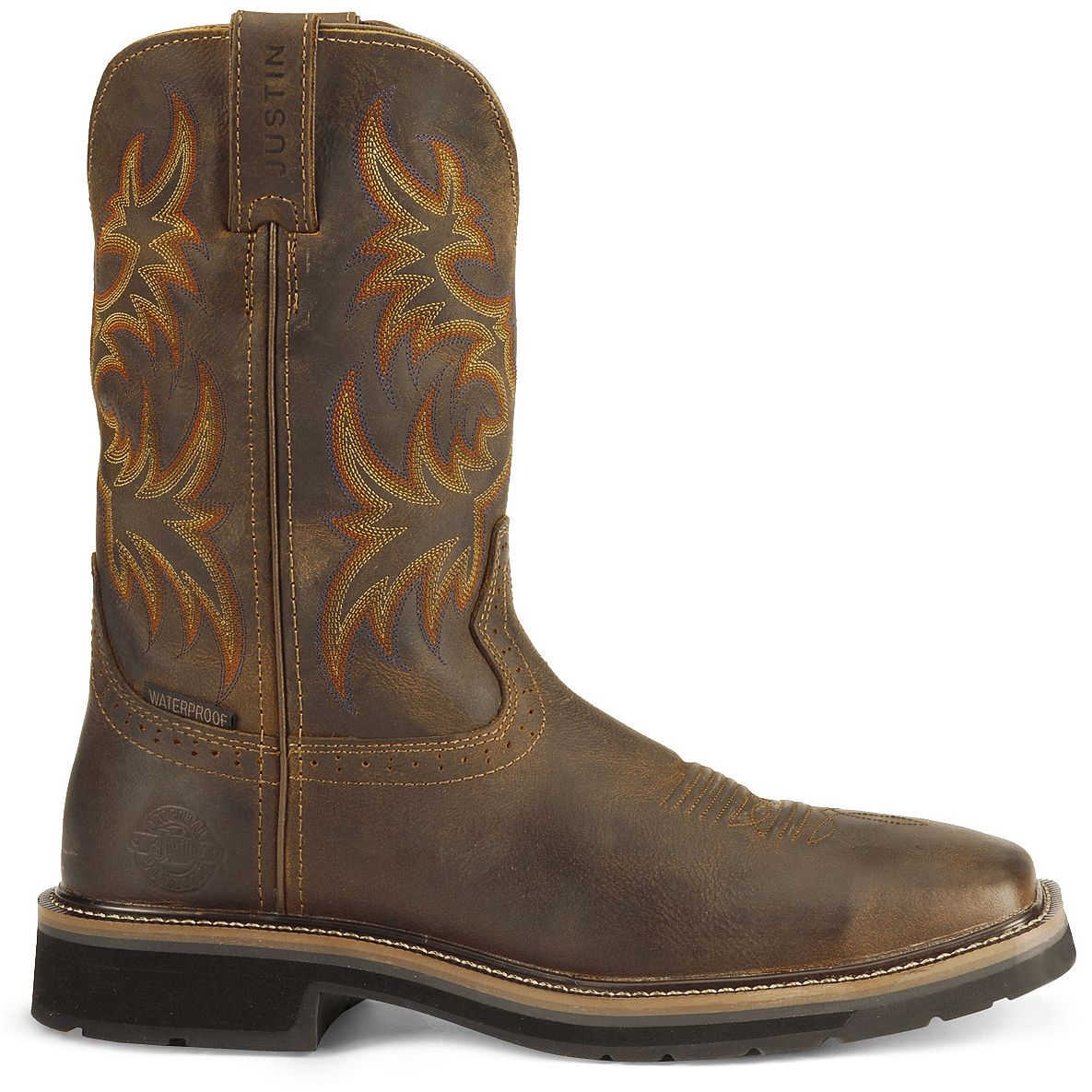 Justin Stampede Tan Waterproof Work Boots Soft Square