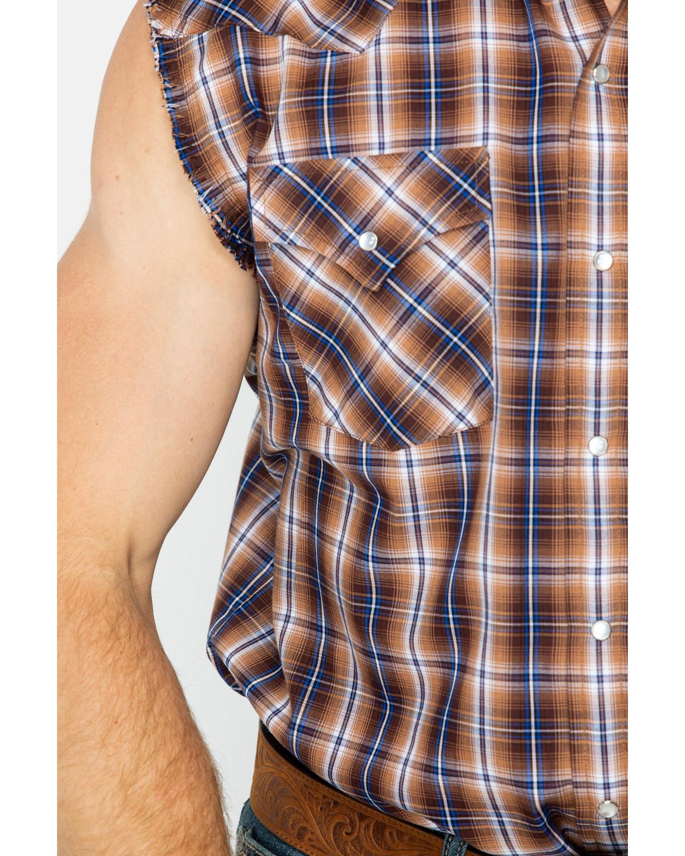 7ae317111f7360 Ely Cattleman Men s Brown Sleeveless Plaid Shirt