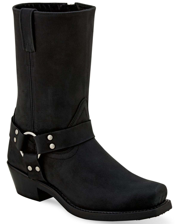 Black Harness Moto Boots - Square toe