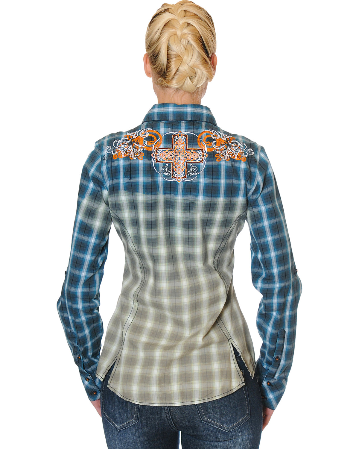 Grace in la women 39 s navy embroidered plaid shirt sheplers for Womens navy plaid shirt