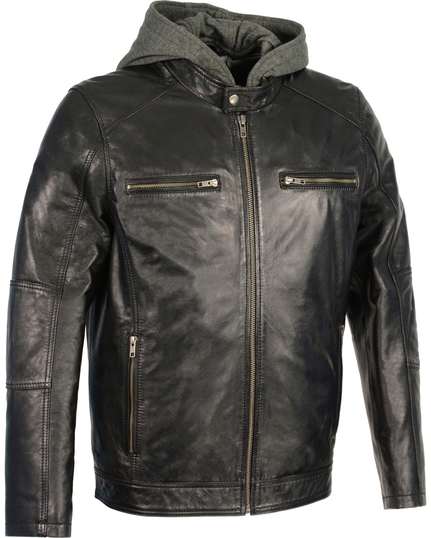 Milwaukee Leather Men S Snap Collar Moto Jacket W Removable Hood Black Hi