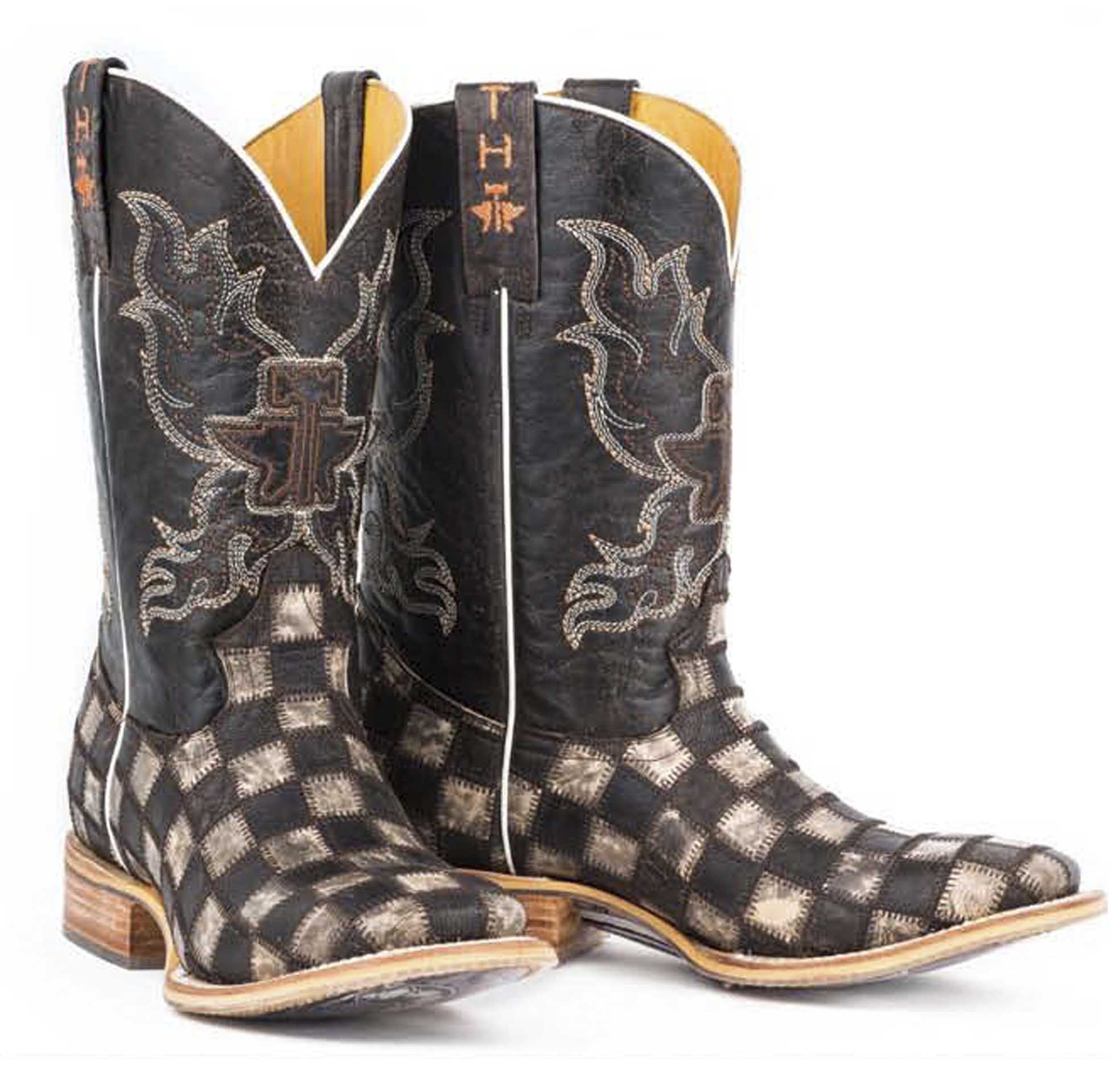 Tin Haul Men S Gunslinger Checkered Cowboy Boots Square