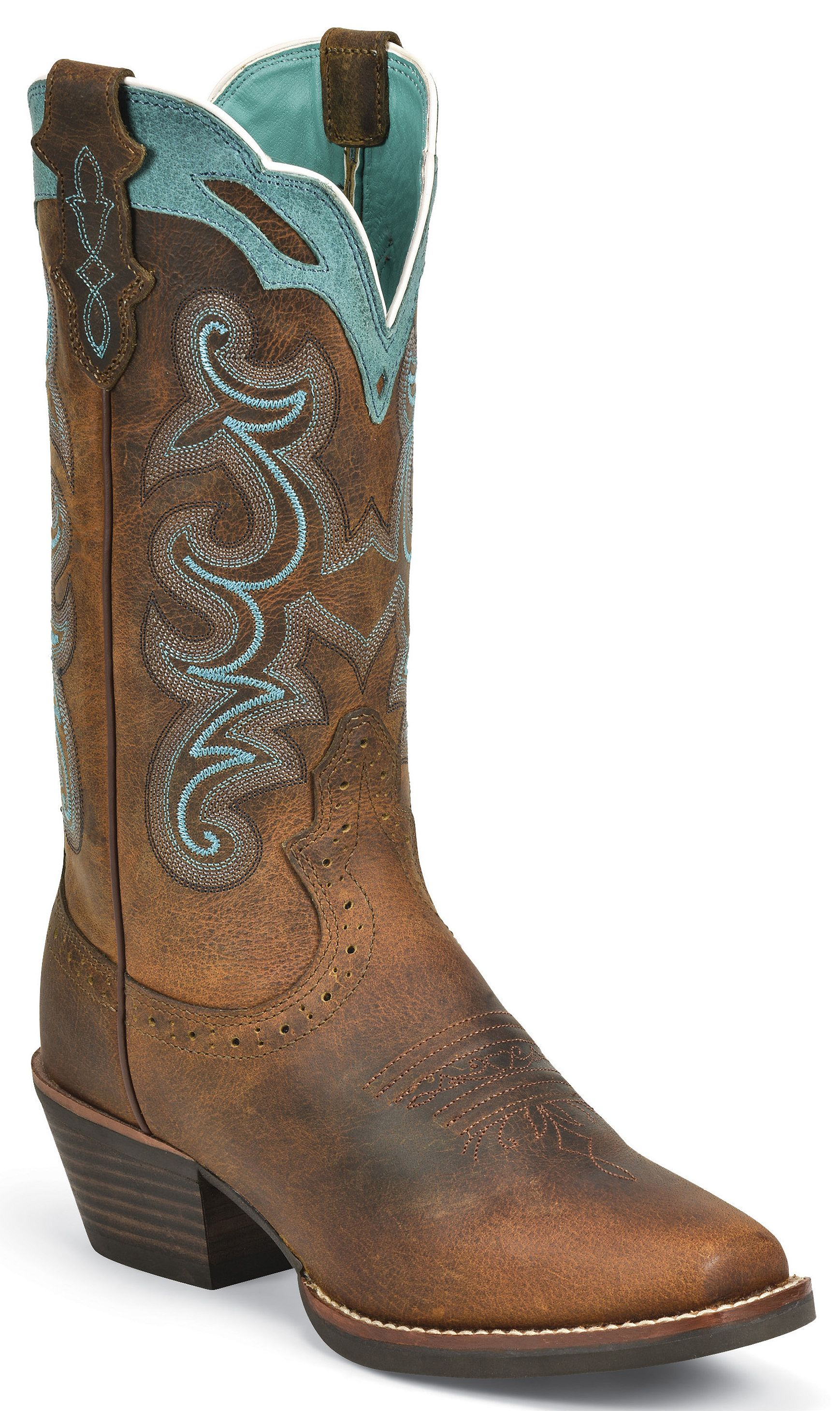 Justin Silver Blue Embroidered Cowgirl Boots Square Toe