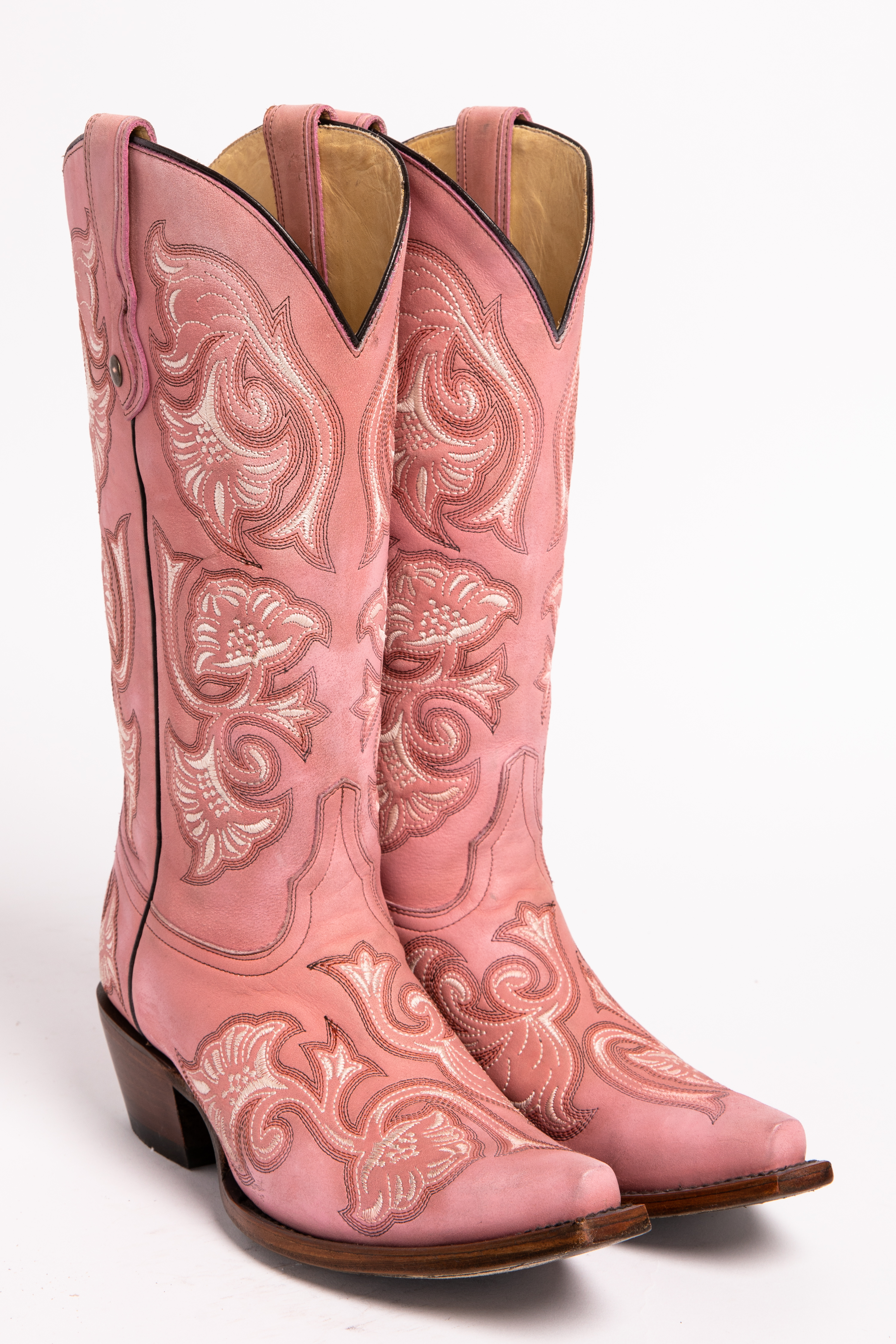 Corral Floral Embroidered Pink Cowgirl Boots Snip Toe
